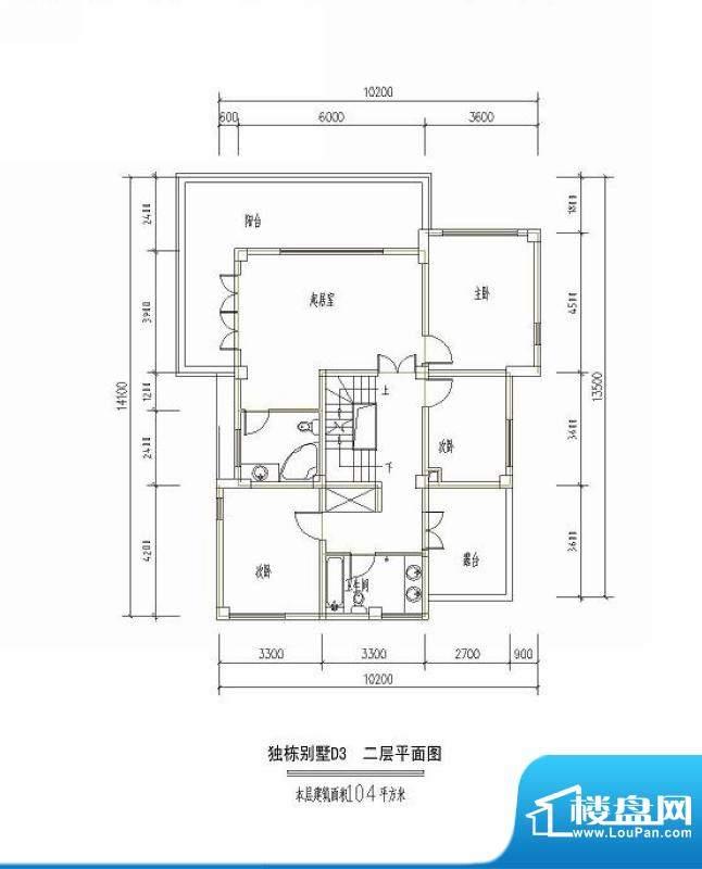 西海瑞园独栋别墅D3面积:104.00平米