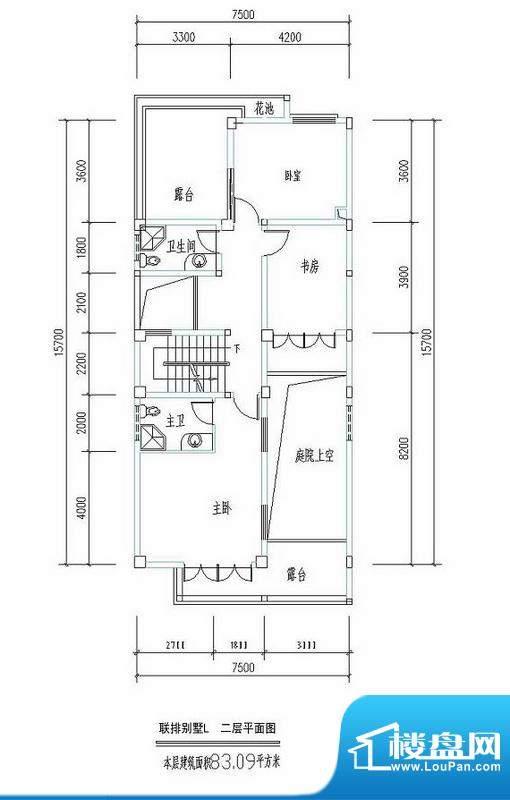 西海瑞园联排别墅L户面积:83.09平米