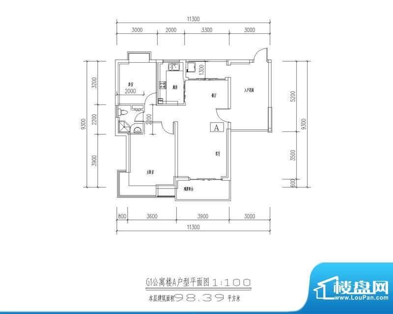 西海瑞园G1、G4公寓面积:98.39平米