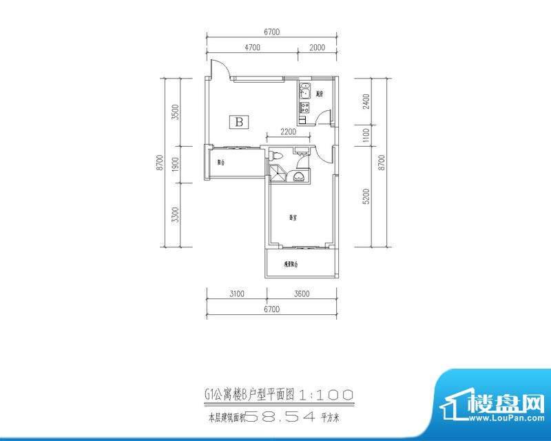 西海瑞园G1、G4公寓面积:58.54平米