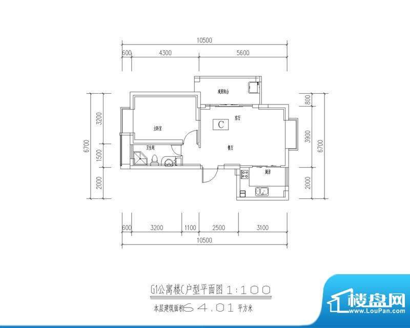 西海瑞园G1、G4公寓面积:64.01平米