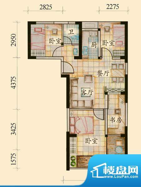 绿岛C户型 4室1厅1卫面积:74.91平米