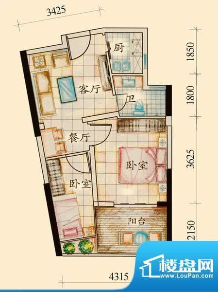 绿岛B户型 2室1厅1卫面积:52.95平米
