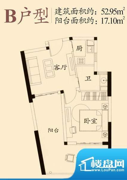 绿岛B户型 1室1厅1卫面积:52.95平米