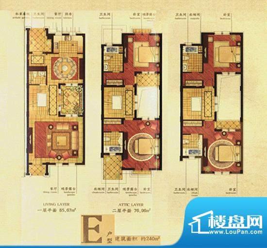 香溢孔望E户型 240㎡面积:240.00m平米