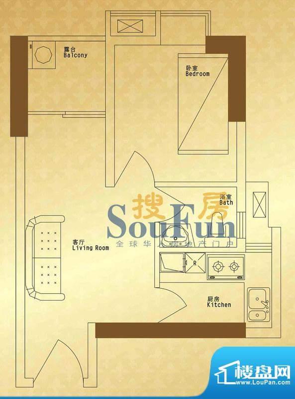 馨润尚寓B1座08单元面积:34.50平米