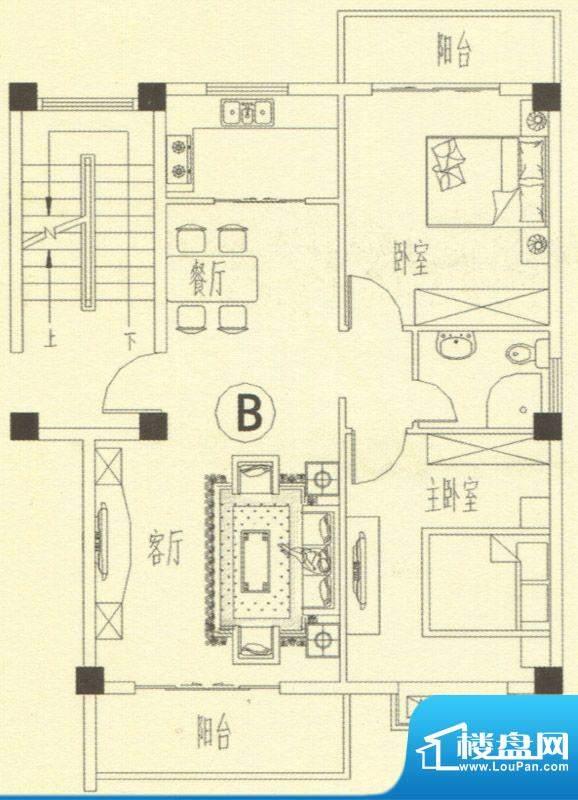 书香门第14-15号楼B面积:81.00m平米