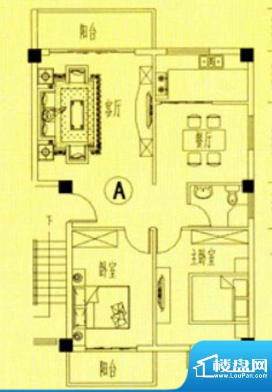 书香门第2-5号楼A户面积:85.00m平米