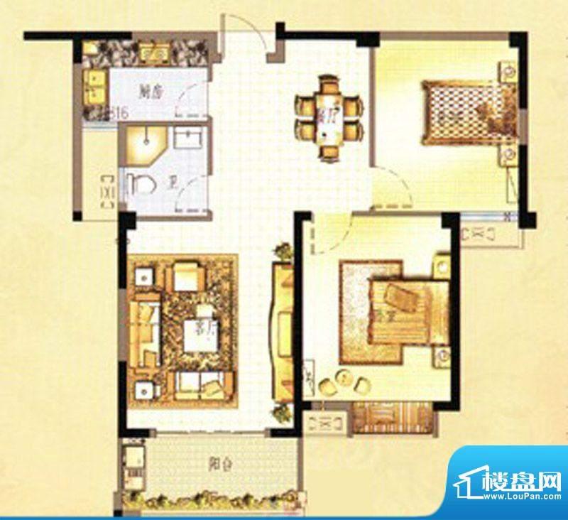 万春中央公馆8栋4单面积:88.00m平米