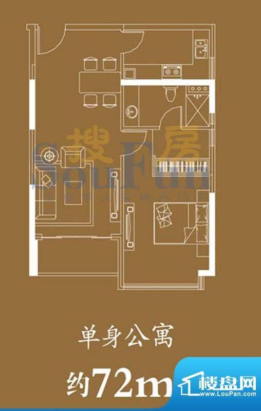 """飞晟文汇广场1期""""星面积:72.00平米"""