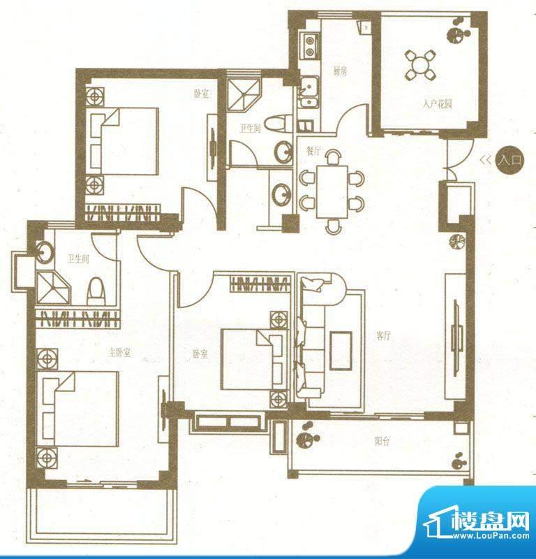 港城国际豪庭7栋f户面积:106.00m平米