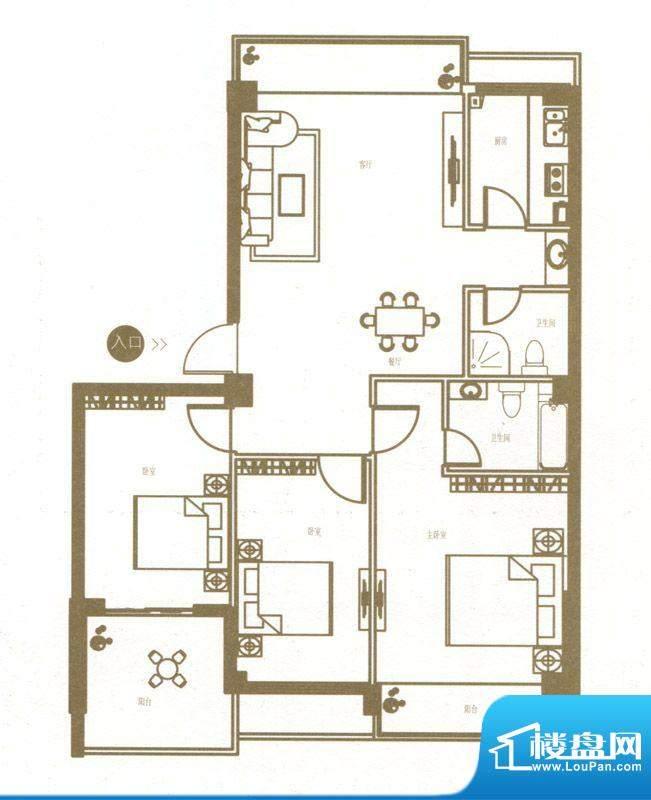 港城国际豪庭5栋E户面积:111.00m平米