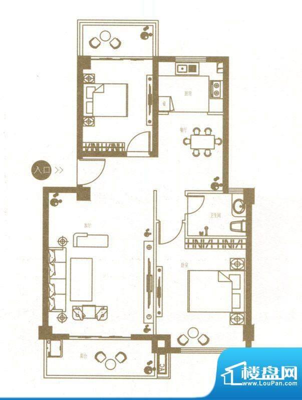 港城国际豪庭1栋B户面积:81.00m平米