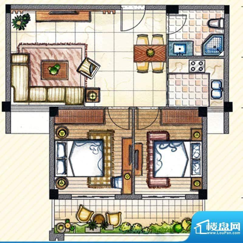 书香丽景 A1户型2室面积:86.00m平米
