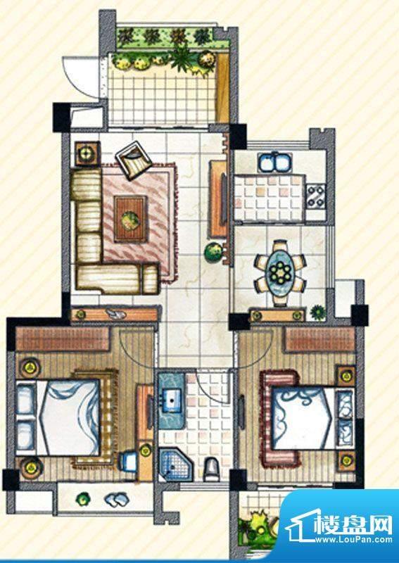 书香丽景 B1户型2室面积:88.00m平米