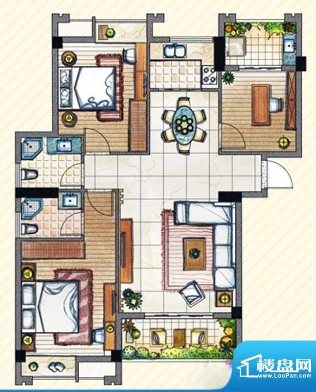 书香丽景C1户型3室2面积:125.00m平米