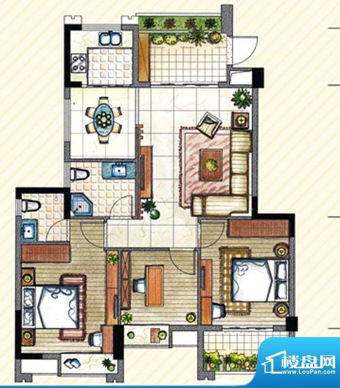 书香丽景C2户型3室2面积:128.00m平米