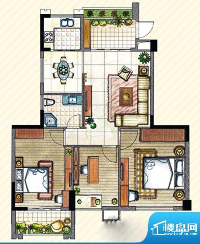 书香丽景C3户型3室2面积:115.00m平米