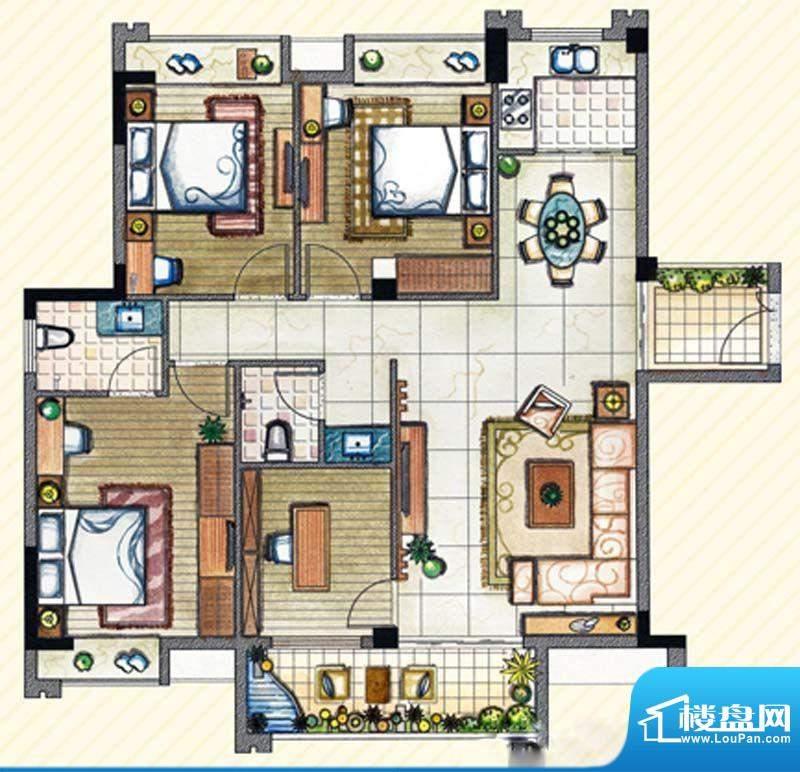 书香丽景D2户型4室2面积:130.00m平米