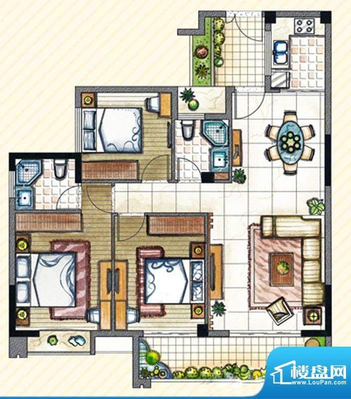 书香丽景D3户型3室2面积:120.00m平米