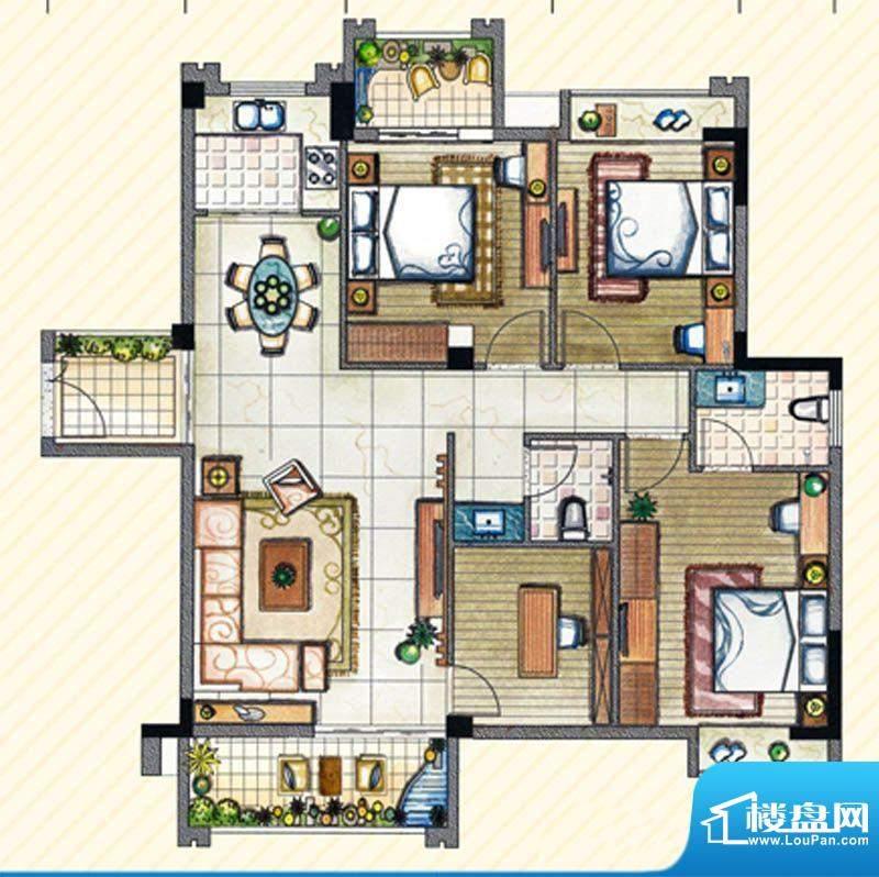 书香丽景E1户型4室2面积:135.00m平米