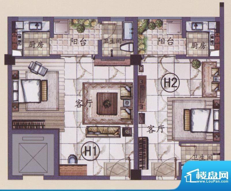 湖滨名城17号楼H户型面积:37.00m平米