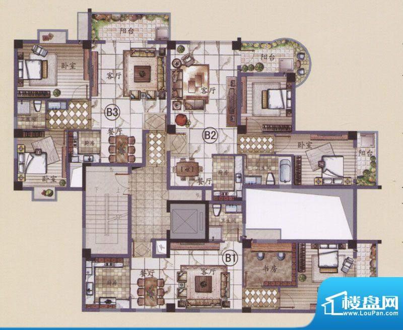 湖滨名城11栋B1户型面积:88.00m平米
