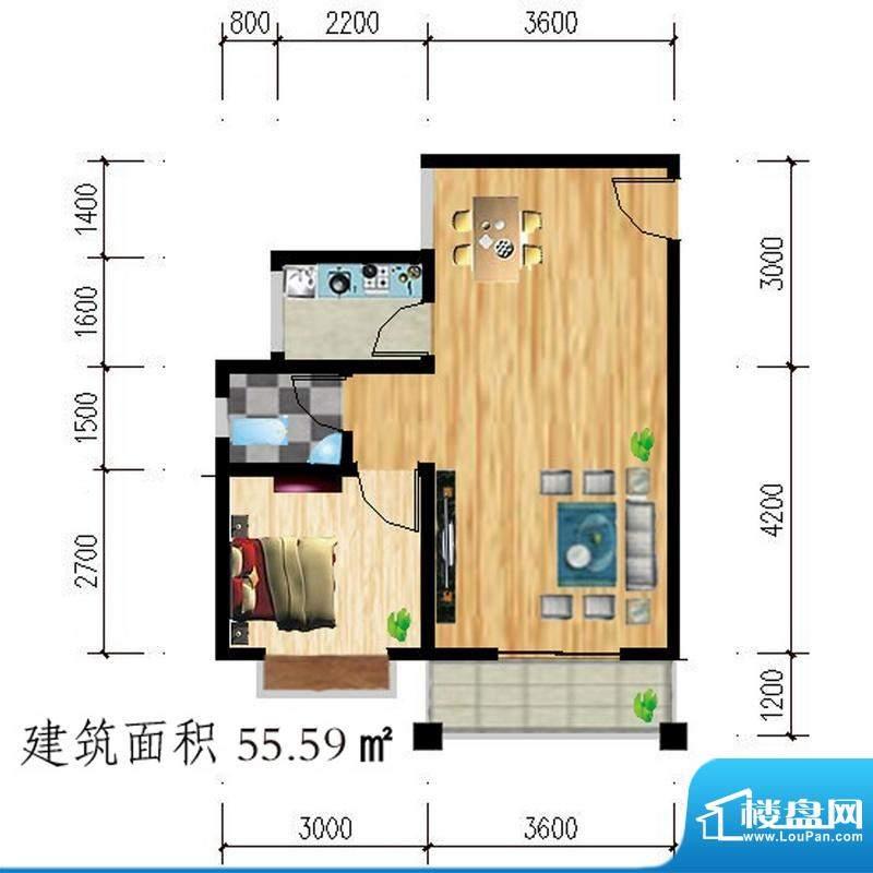 公园壹号a户型图 1室面积:55.59平米