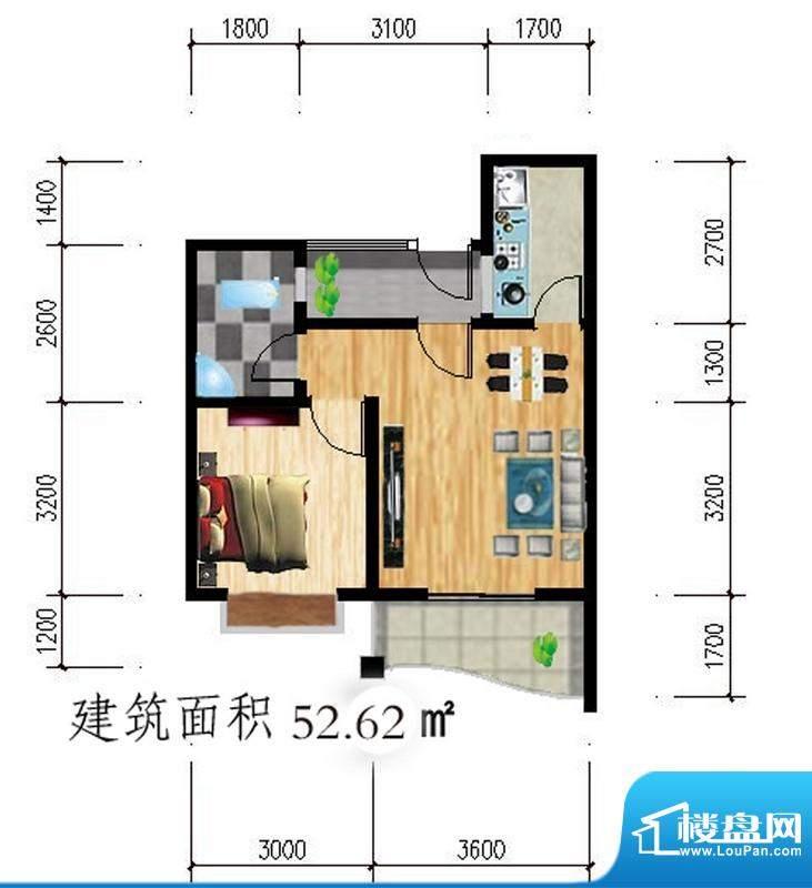 公园壹号c户型图 1室面积:52.62平米