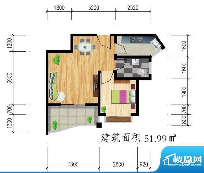 公园壹号d户型图 1室面积:51.99平米