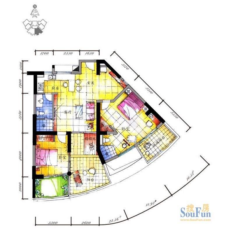 海拓澜湾C2户型 2室面积:119.00平米