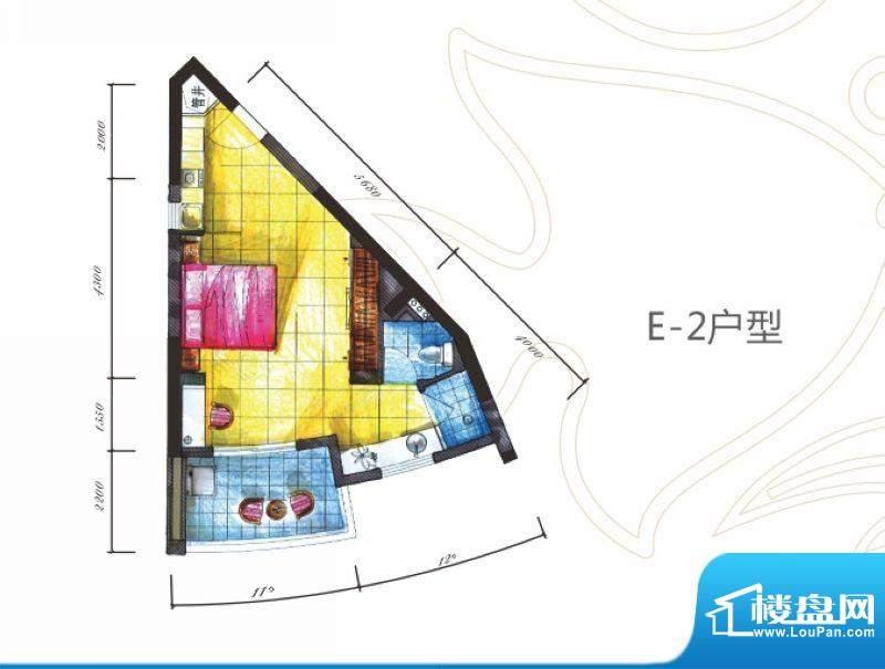 海拓澜湾E2户型 1室面积:52.00平米