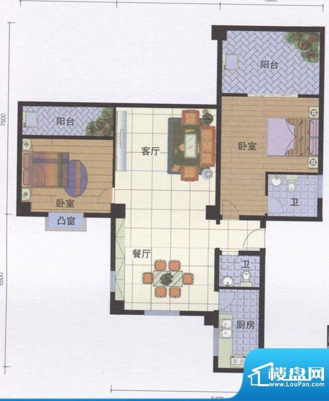 丽江明珠A区05户型面积:117.00m平米