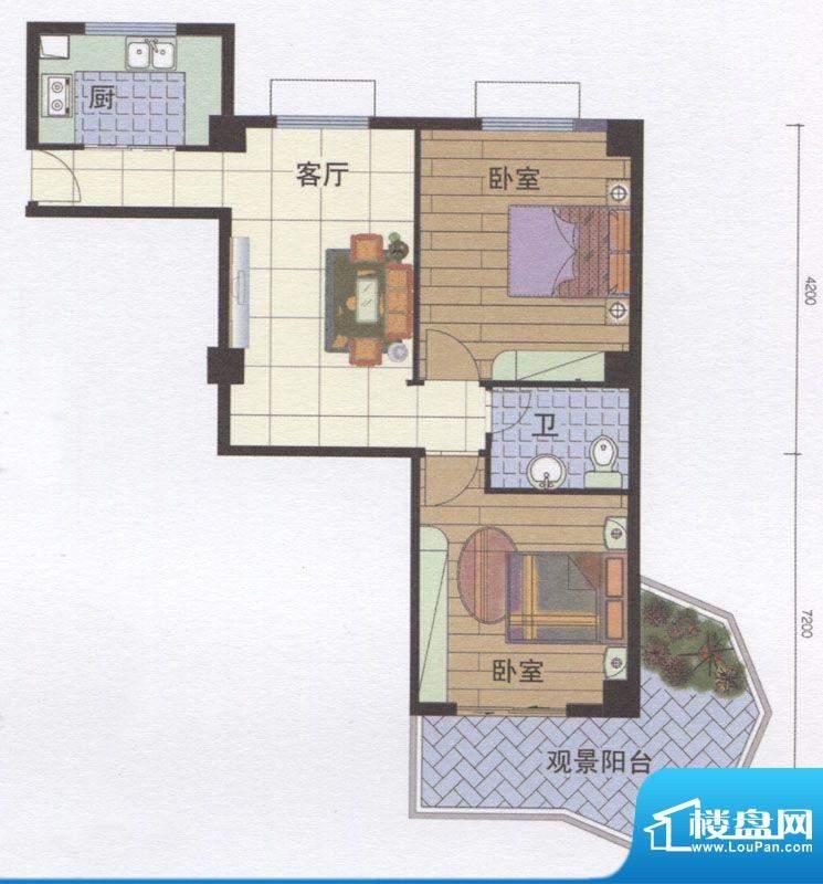 丽江明珠A区01户型面积:87.00m平米