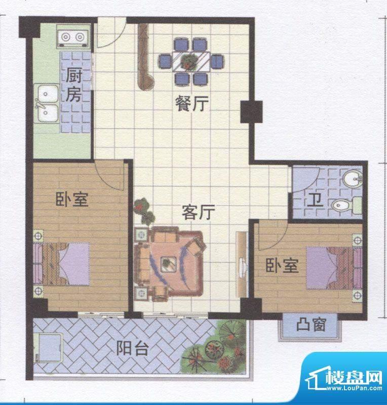 丽江明珠A区02户型面积:90.00m平米
