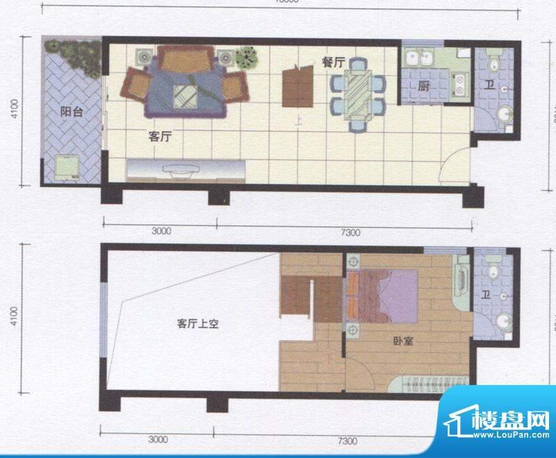丽江明珠B区04户型面积:63.00m平米