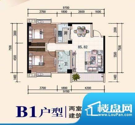 椰林山庄B1户型 2室面积:85.82平米