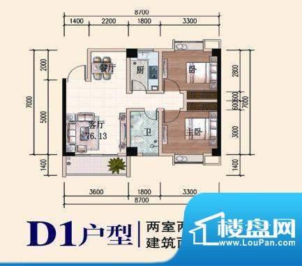 椰林山庄D1户型 2室面积:76.13平米