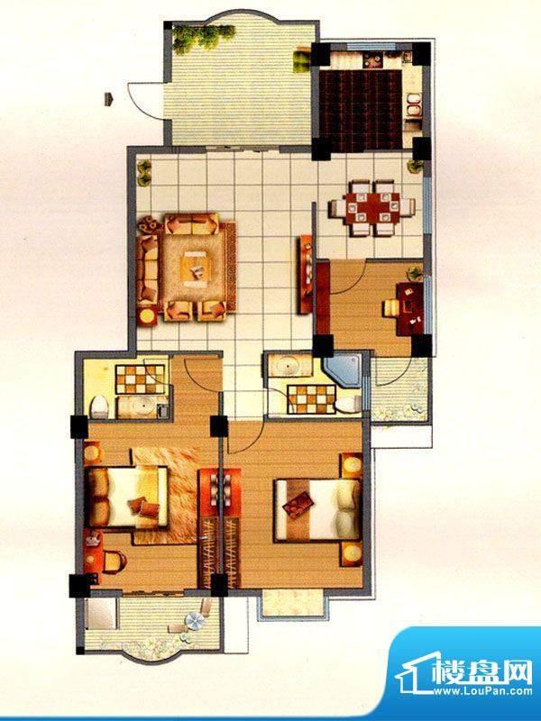 聚福名城10#三室一厅面积:120.00m平米