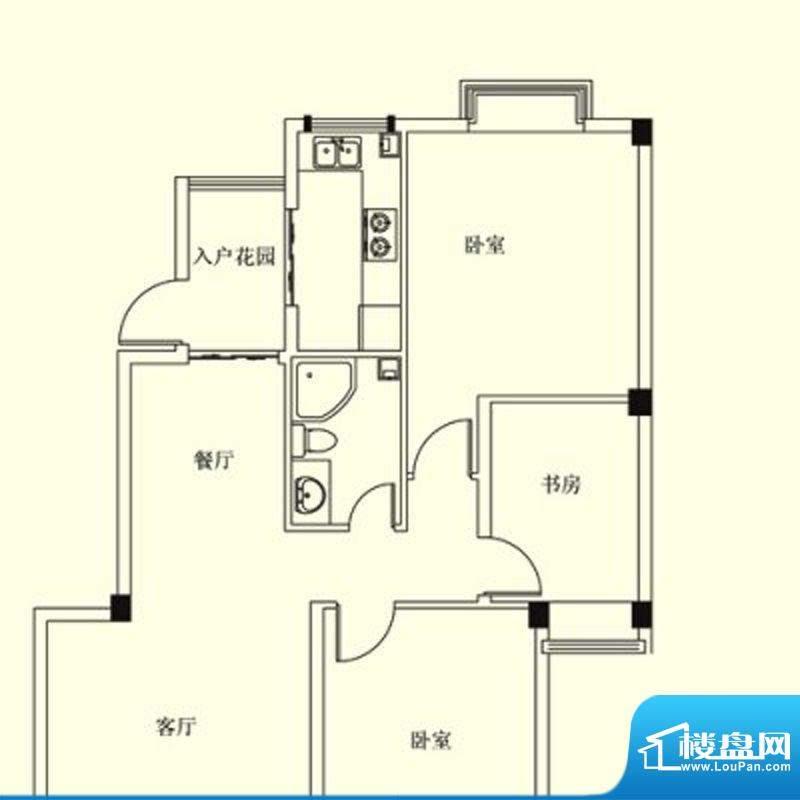 凤翔花园城户型图 3面积:133.00m平米
