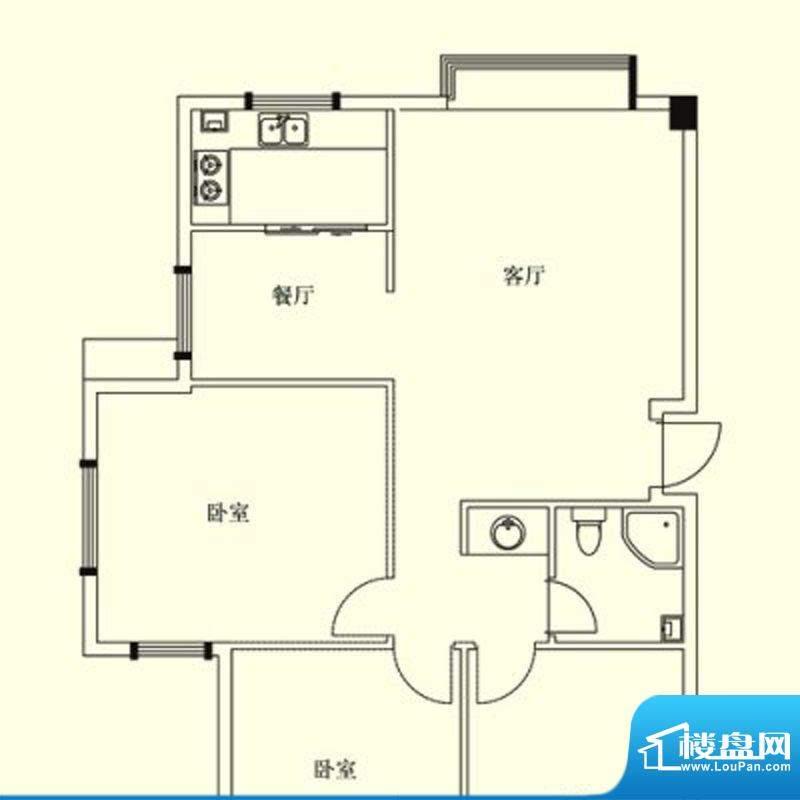 凤翔花园城户型图 2面积:87.00m平米