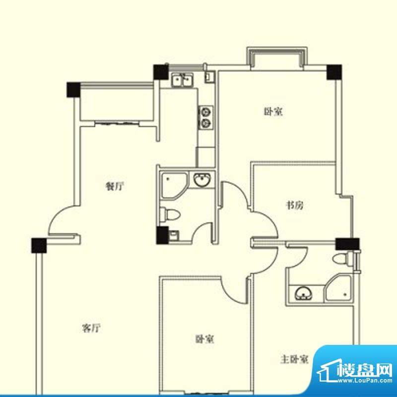 凤翔花园城户型图 4面积:152.00m平米