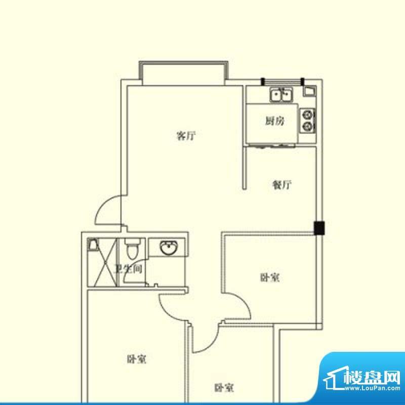 凤翔花园城户型图 2面积:80.00m平米
