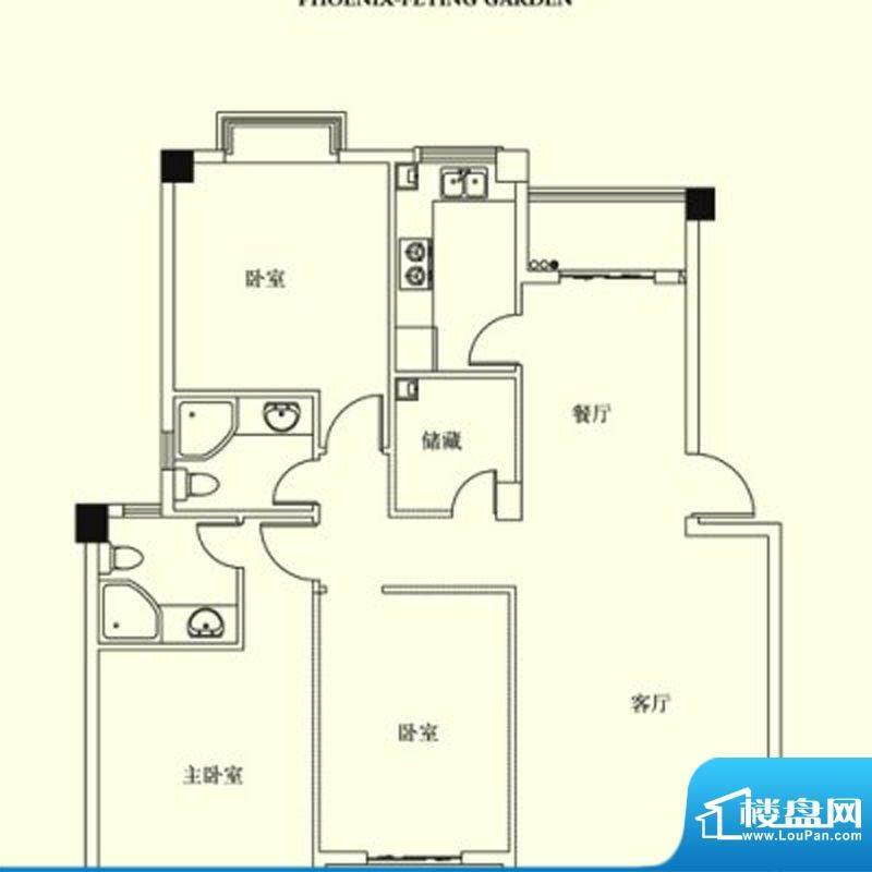 凤翔花园城户型图 3面积:142.00m平米