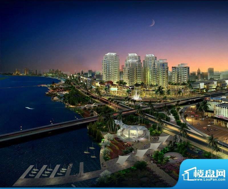 椰海滨江夜景鸟瞰效果图