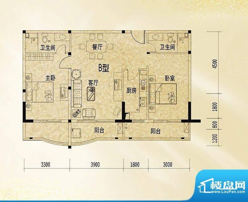 和丰丽景B户型图 2室面积:106.93平米