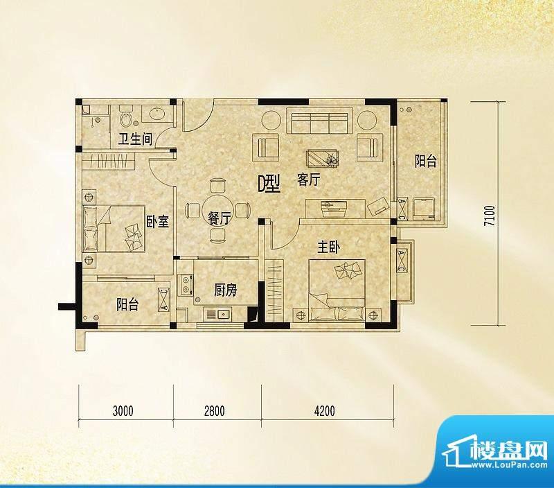 和丰丽景D户型图 2室面积:87.38平米