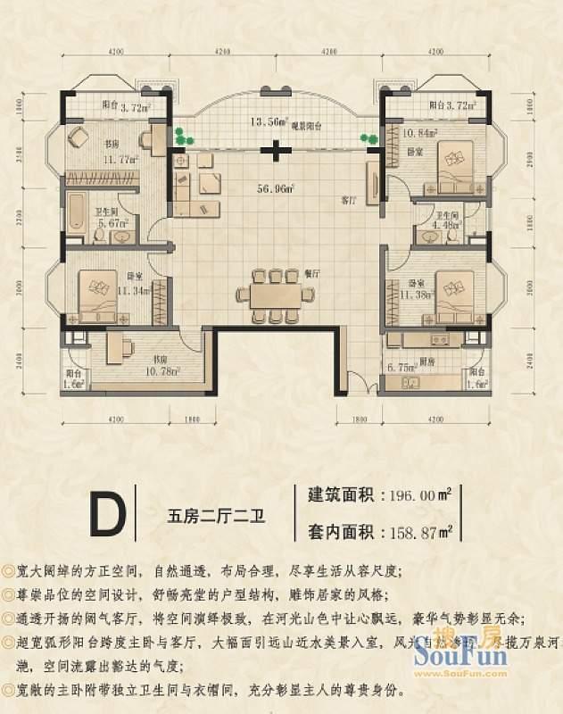 椰海滨江D户型图 5室面积:196.00平米