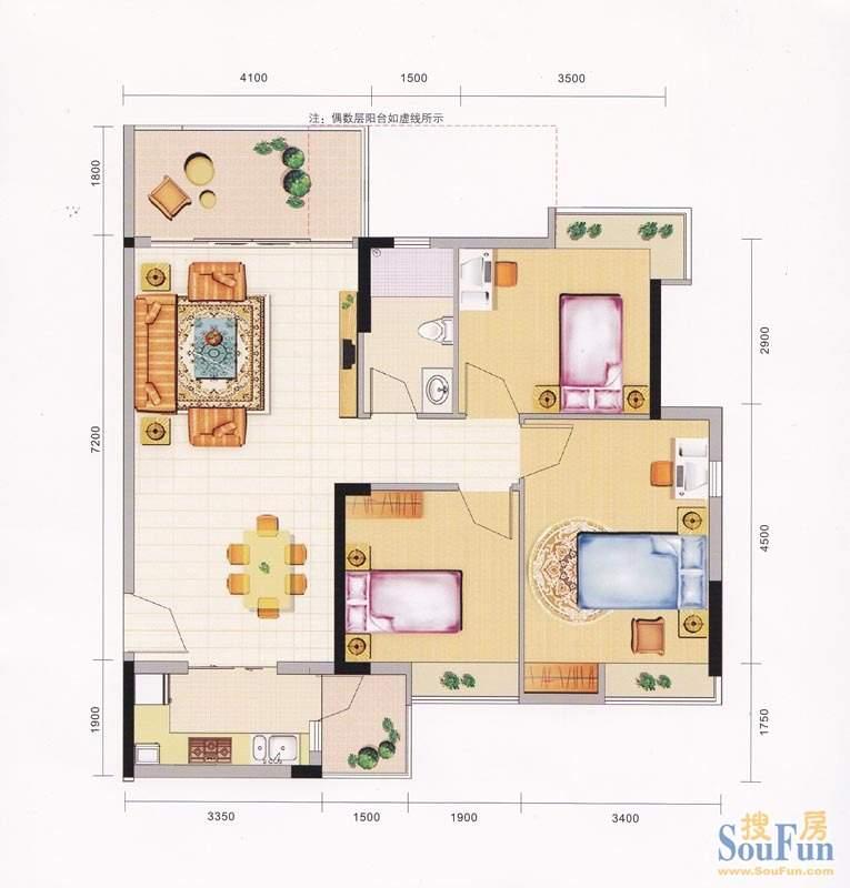 领地海纳天河花园8栋面积:88.00平米