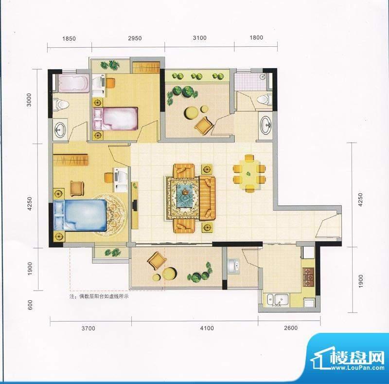 领地海纳天河花园6栋面积:87.00平米